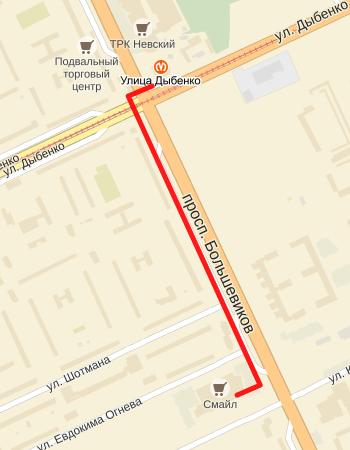 схема проезда Проспект Большевиков 27А